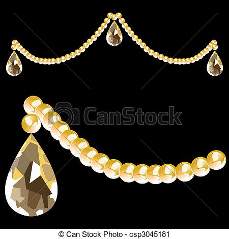 Vector Clip Art of Crystal Beads and Teardrop.