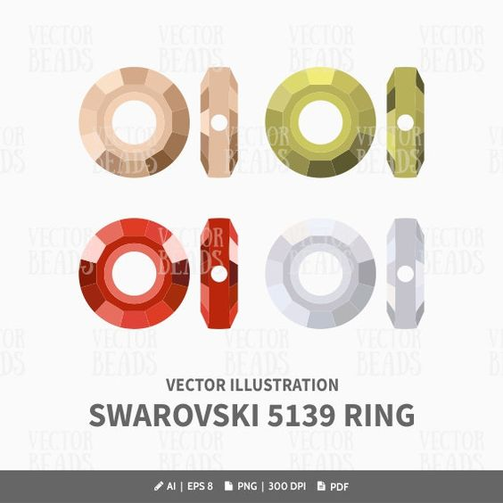 Swarovski 5139 Ring Bead Vector Illustration.