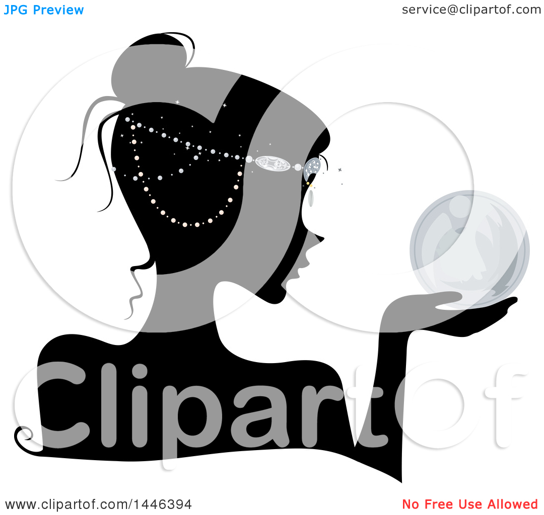 Clipart of a Black Silhouetted Profiled Woman Wearing Head Beads.