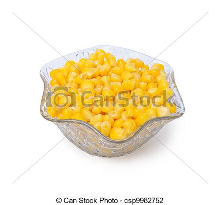 Stock Photo of Sweetcorn in crystal bowl isolated on a white.