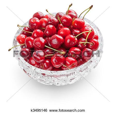 Stock Images of Cherries in crystal bowl k3495146.