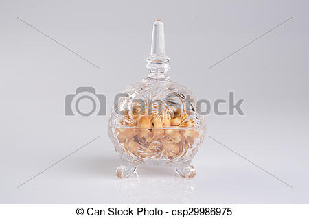 Picture of crystal bowl with food on a background..