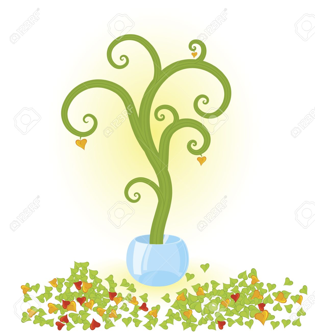 Vector Illustration Of A Tree With Fallen Leaves Growing In.