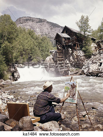Stock Photo of Marble Colorado Crystal Bridge Old Mill Easel.