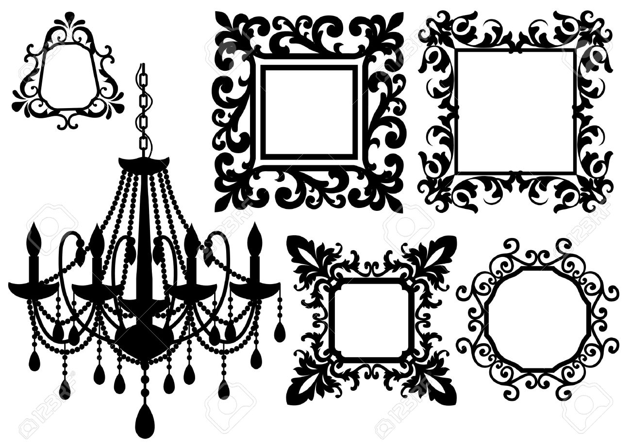 Antique Picture Frames And Crystal Chandelier Silhouette Royalty.