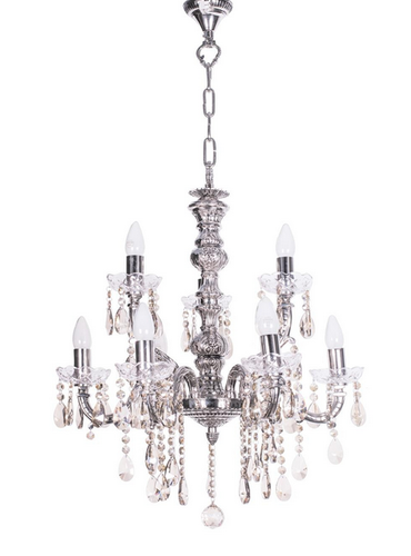 Sz Silver 9 Light Brass Crystal Chandelier.