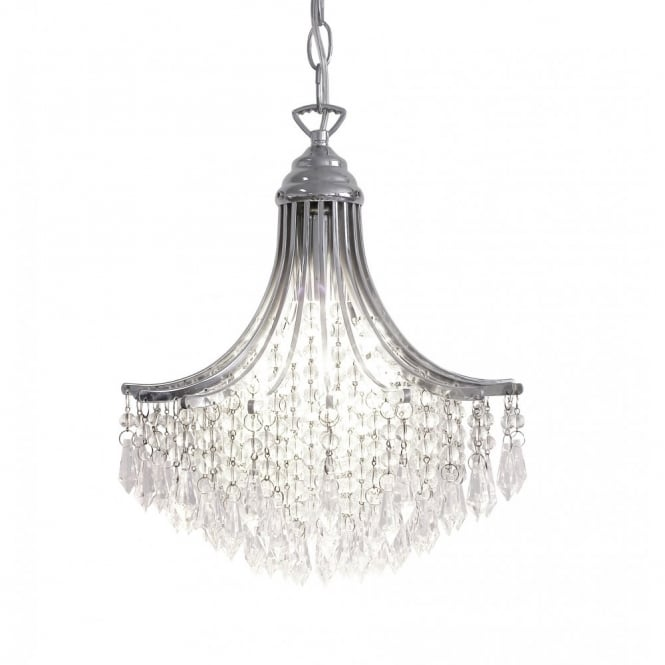SURI double insulated small crystal chandelier polished chrome.