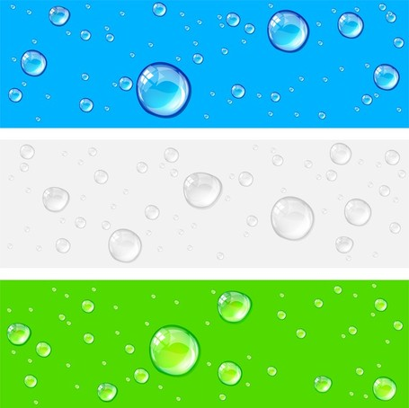 Crystal Clear Water Drops 01, Vector.