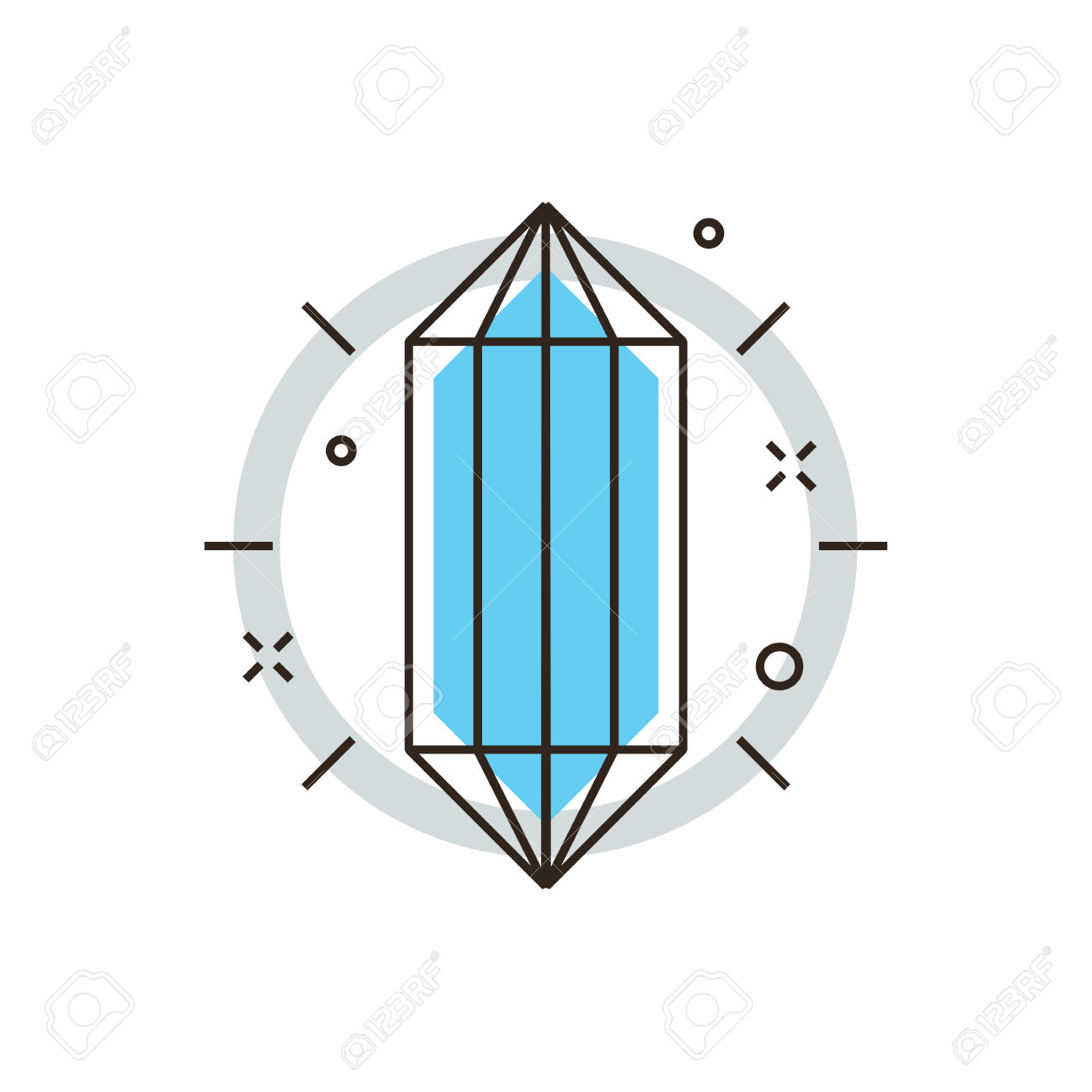 Thin Line Icon With Flat Design Element Of Core Idea, Crystal.