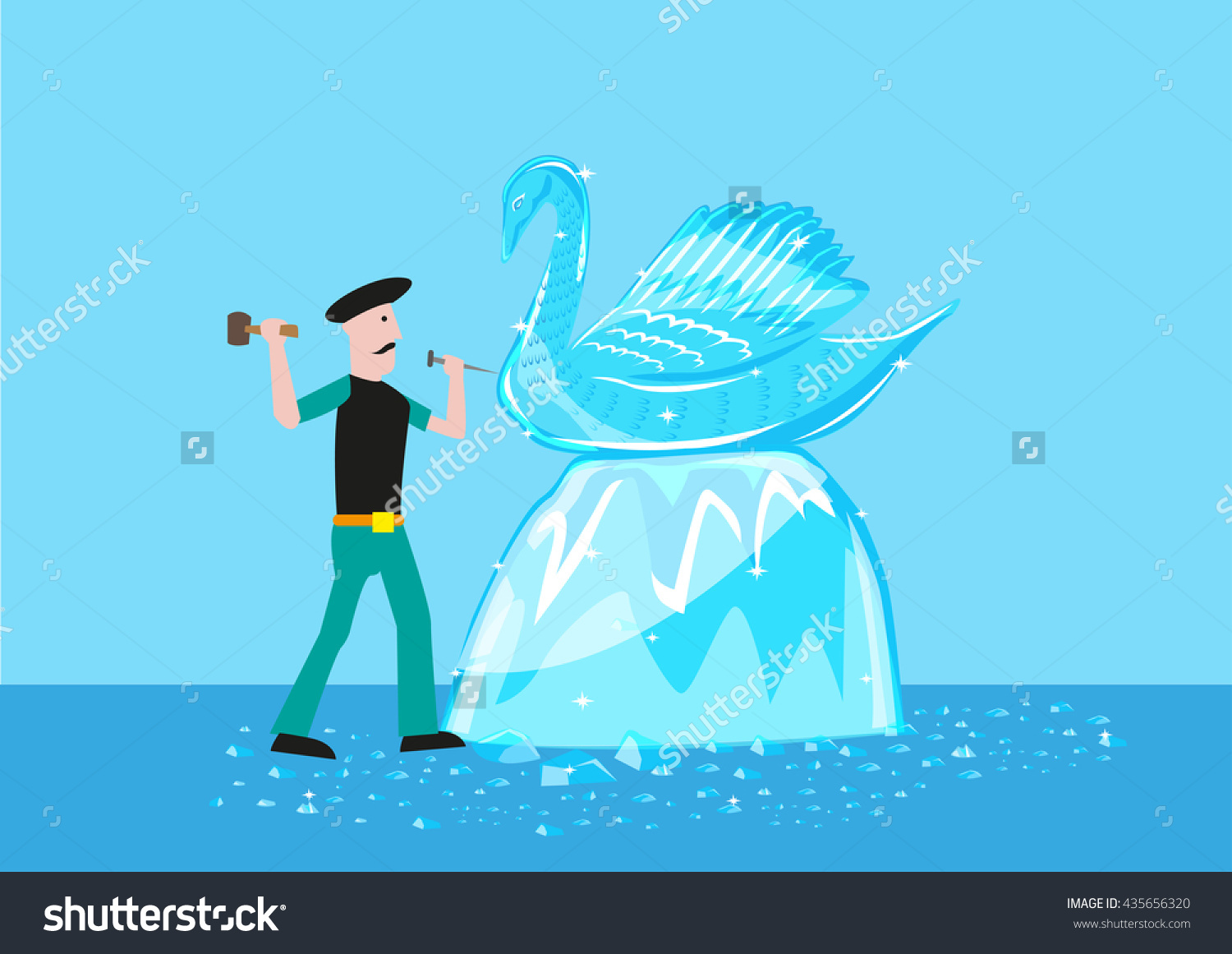 An Artist Sculpts A Swan Form Out Of Ice Or Crystal Material.