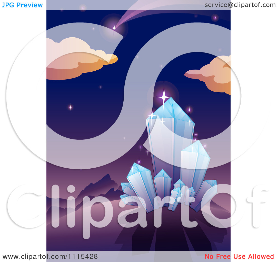 Clipart Shooting Star In A Night Sky Above Crystals.