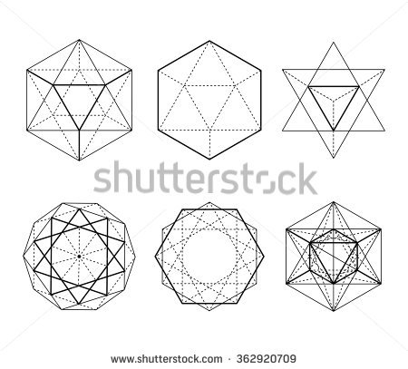 Hexagonal Shapes Set Crystal Forms Winter Stock Vector 362920709.