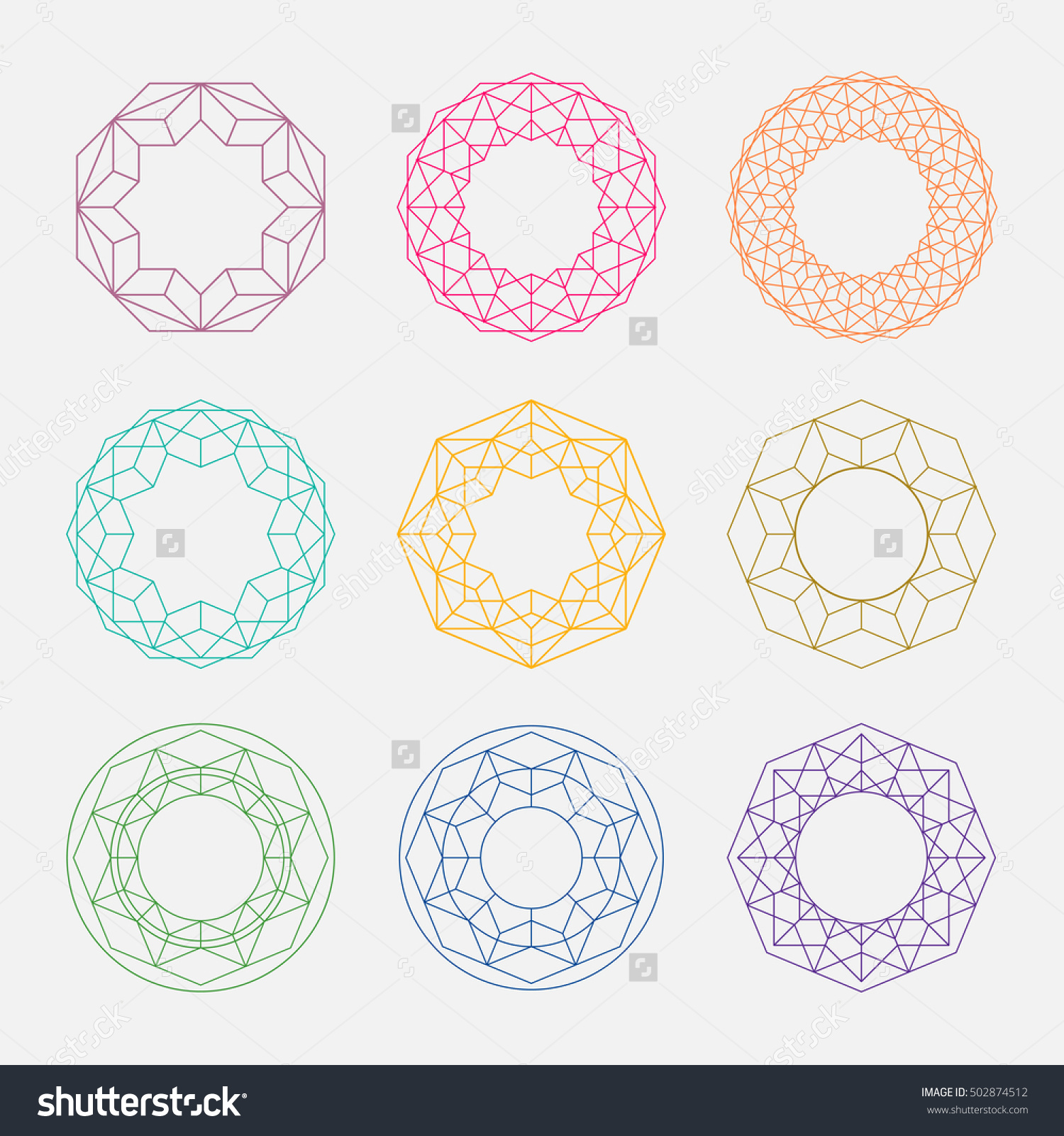 Colorful Linear shapes. Sacred geometry. Circle shapes set.