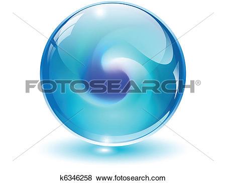 Clip Art of 3D crystal, glass sphere vector. k6346258.