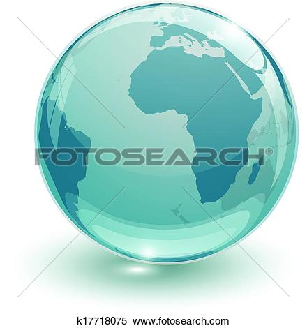 Clipart of crystal glass globus 3d k17718075.