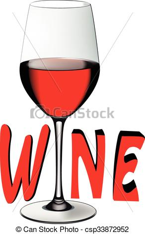 Clipart Vector of crystal glass with wine.