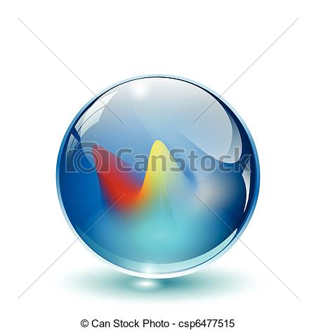 Clipart Vector of 3D crystal, glass sphere vector..