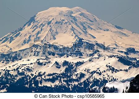 Stock Image of Snowy Mount Saint Adams from Crystal Mountain.