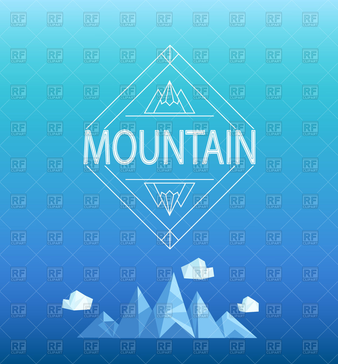 Geometric crystal mountain and clouds in polygon style Vector.