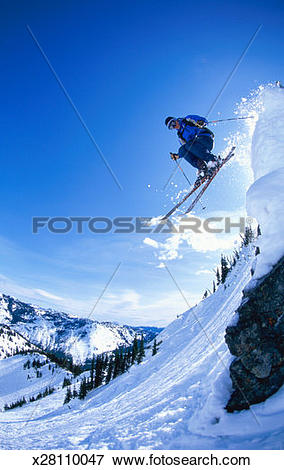 Picture of USA, Washington State, Crystal Mountain, male skier.