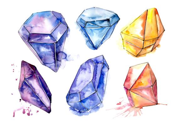 Aquarelle geometric crystal PNG set.