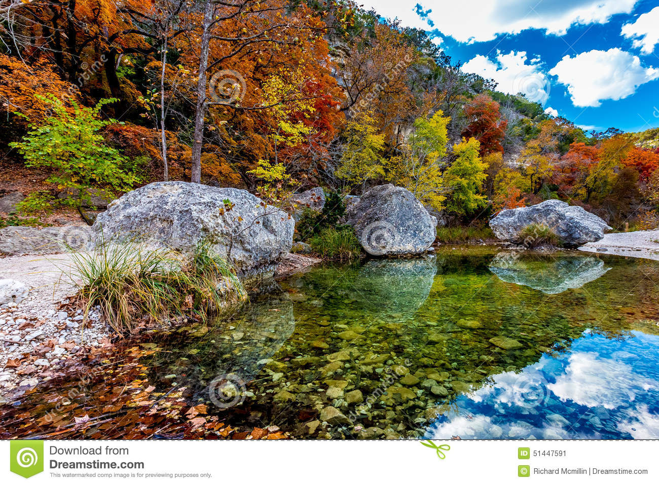 Crystal Pool With Fall Foliage At Lost Maples State Park, Texas.