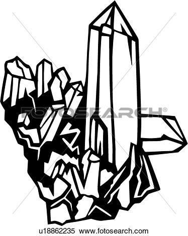 Clipart of , crystal, quartz, sea, environmental, u18862235.