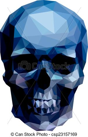 Clip Art Vector of blue skull.