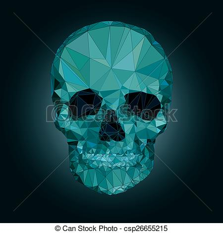 Vector Clip Art of Skull low poly vector crystal csp26655215.