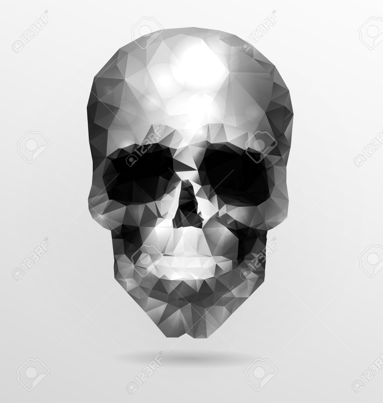 Dark Gothic With Polygonal Modern Skull, Crystal Skull Royalty.