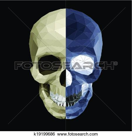 Clip Art of Crystal skull in two colors k19199686.