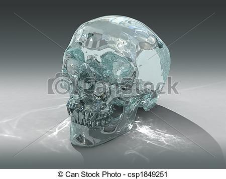 Clipart of 3D Crystal Skull.
