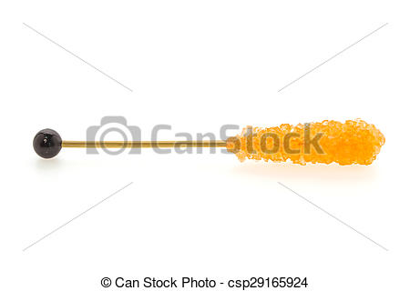 Stock Photo of Crystal sugar stick isolated on white background.