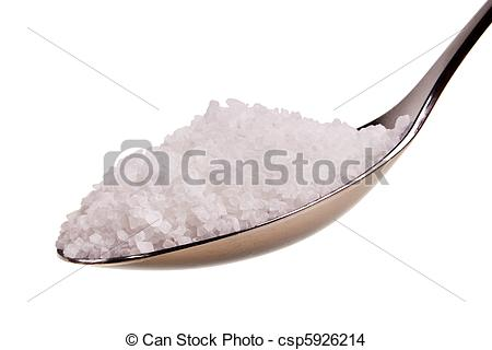 Stock Photo of Silver spoon full of white crystal sugar isolated.