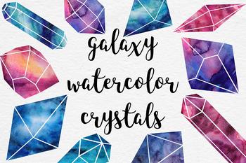 Watercolor Crystals Clipart.