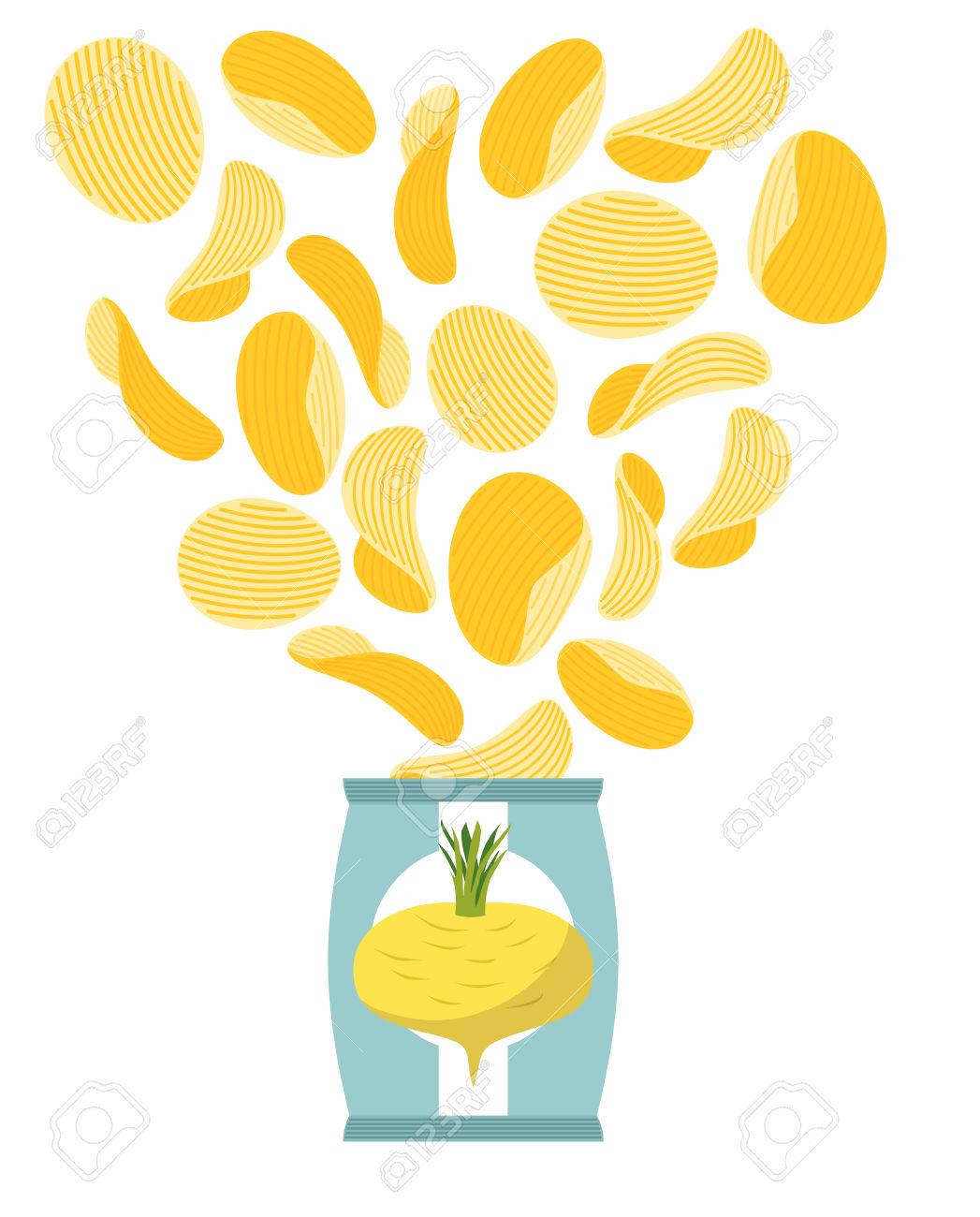 Burgonya Chips íze Fehérrépa. Csomagolás, Zacskó Chips Fehér.