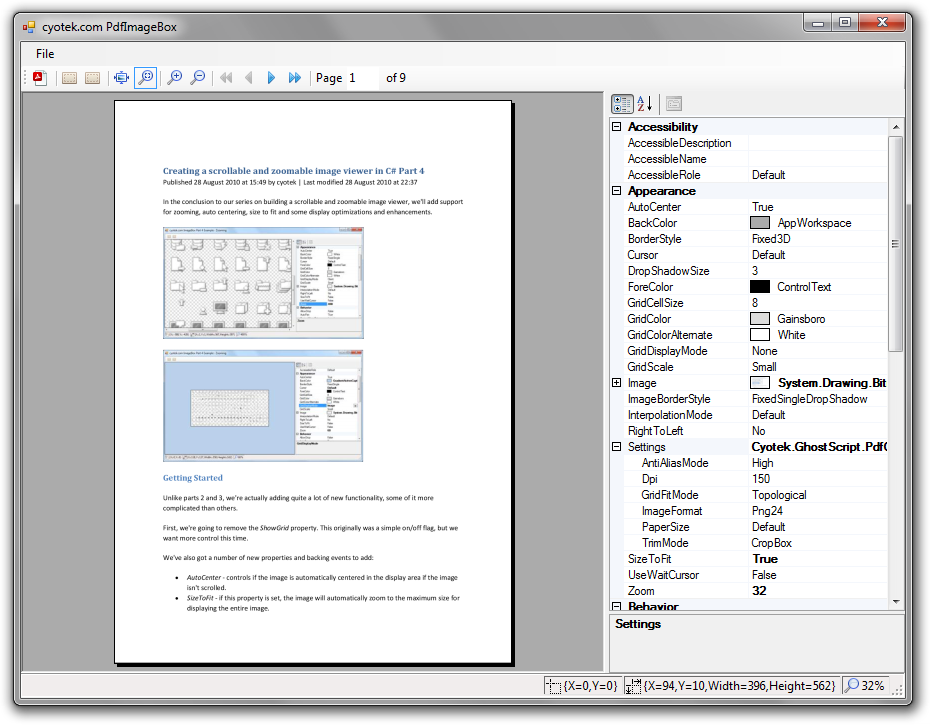 Convert a PDF into a series of images using C# and GhostScript.