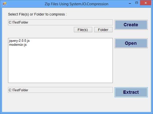 Zip and Unzip Files Programmatically in C#.