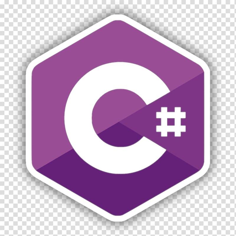 Purple and white logo, C# Computer programming Software.