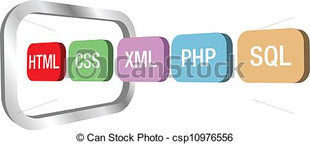 Clipart Vector of Web dev html css php into computer frame.