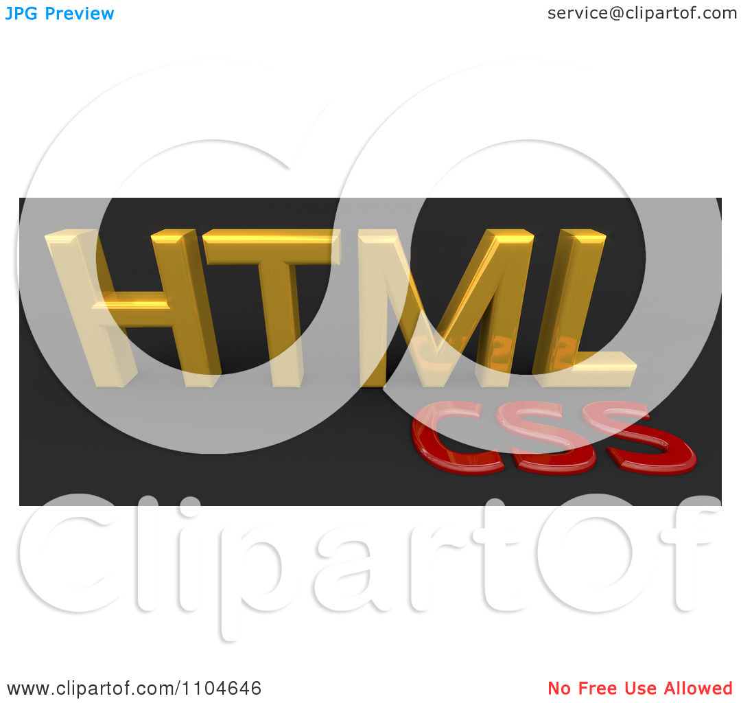 Clipart 3d Gold And Red HTML CSS Style Sheet Language On Black.