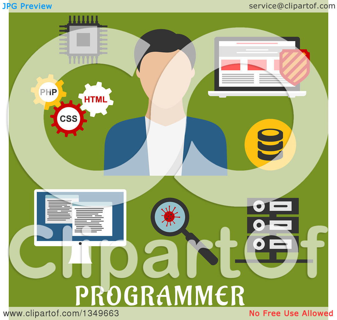 Clipart of a Flat Design Male Programmer a Laptop with Antivirus.