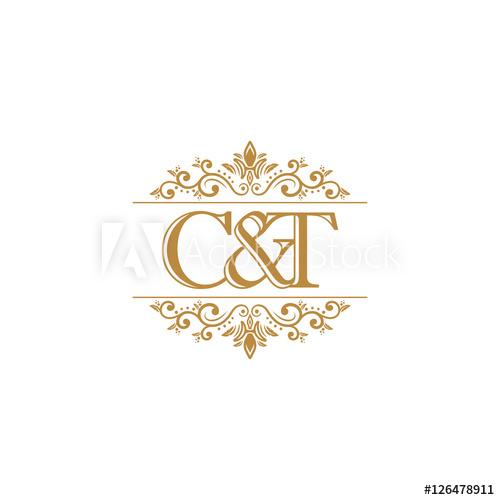 C&T Initial logo. Ornament gold.