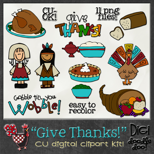 Give Thanks Thanksgiving CU clipart [DDDoo_GvThxClipart] : CU.