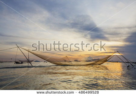 Fishing Boat Catching Fish Fishnet Dusk Stock Photo 59891257.