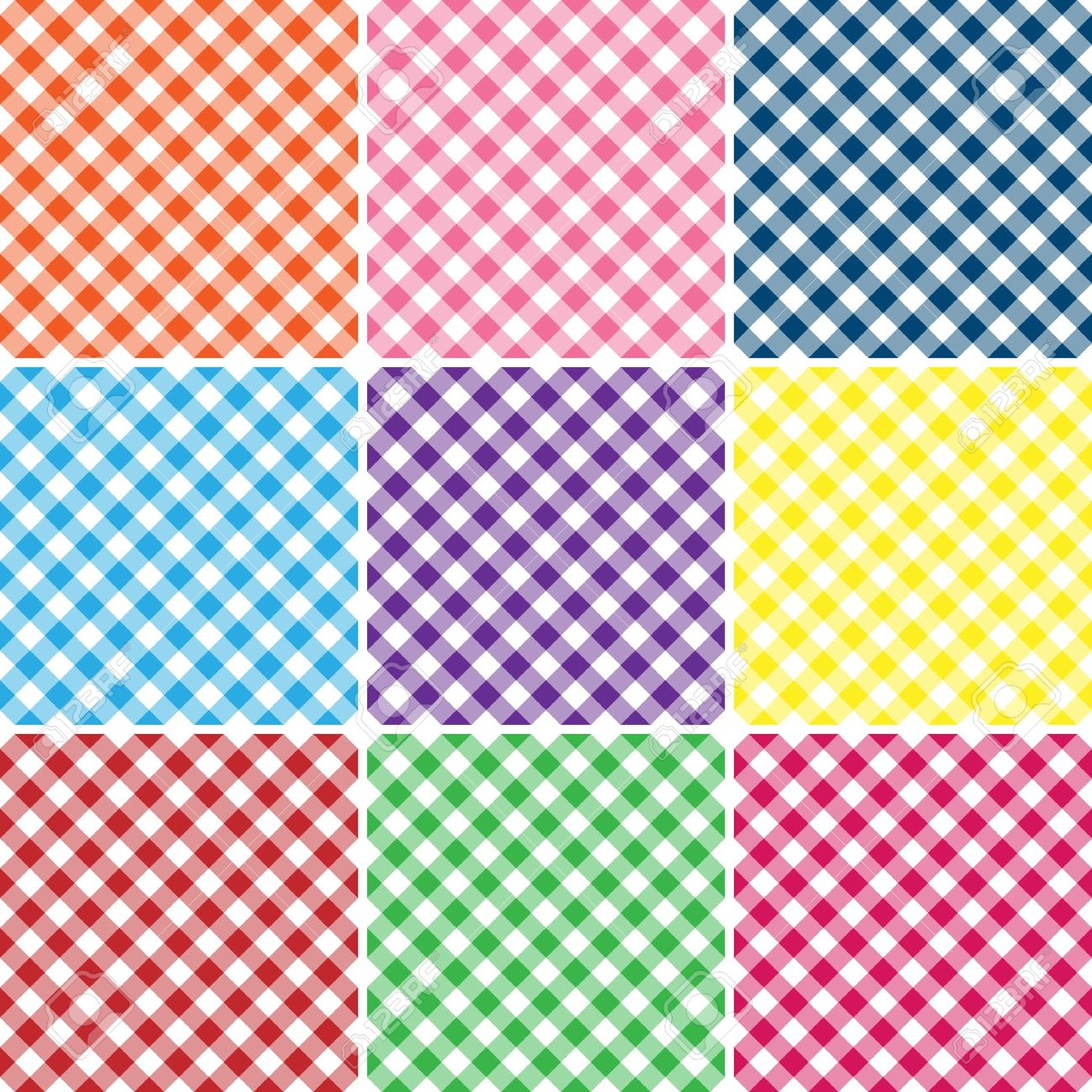 An Illustration Of A Gingham Plaid In Nine Bright Colors Stock.