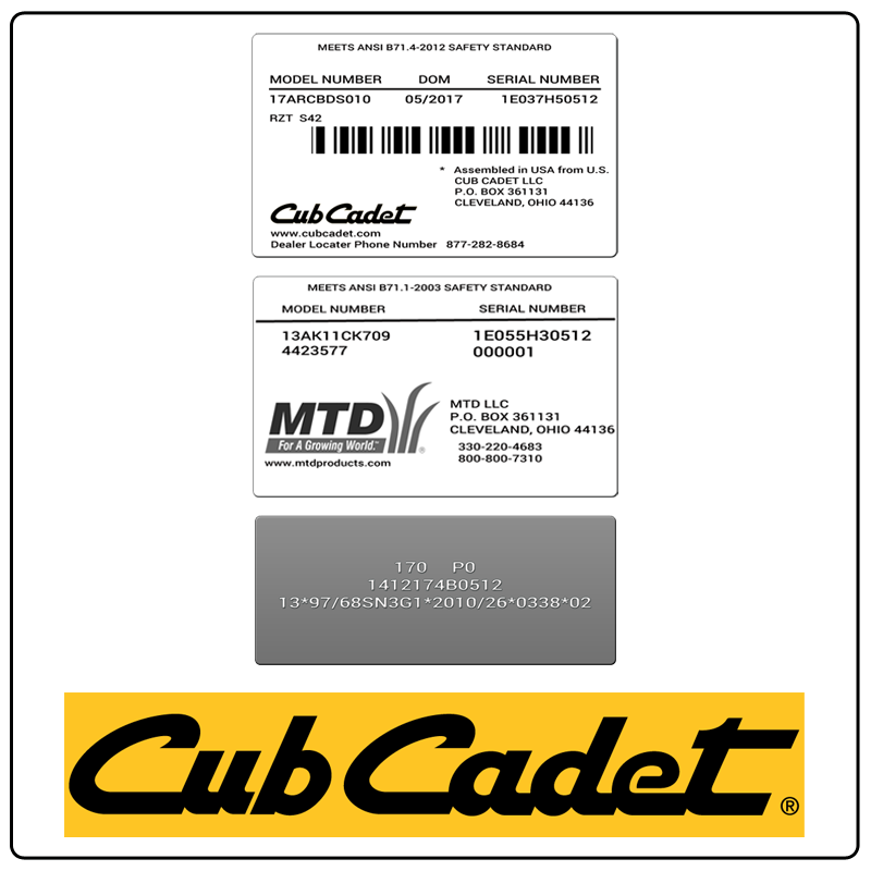 Cub Cadet Parts by Equipment.