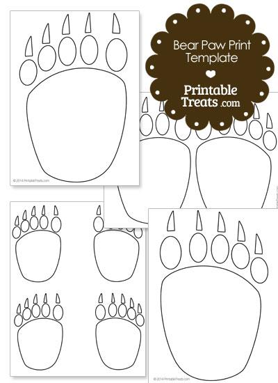 Printable Bear Paw Prints Template.