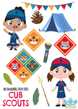 Cub Scouts Clipart, Instant Download Vector Art, Commercial Use Clip Art,  Cute.