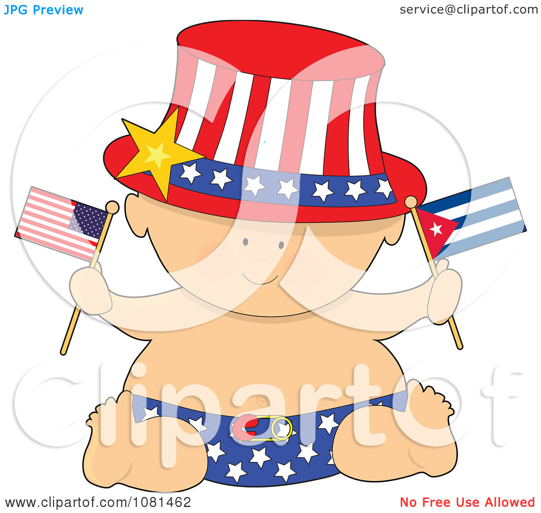 Clipart Patriotic Baby Holding American And Cuban Flags.